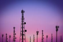 Silhouette Phone Antenna.Sunset Background