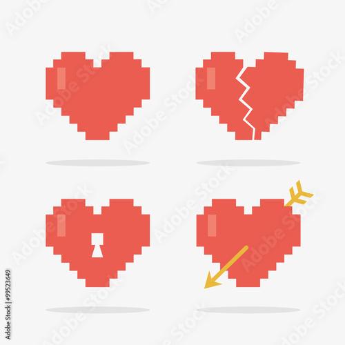 Cadres-photo bureau Pixel 8 Bit Heart Icons Set in Vector