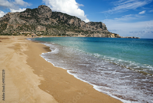 Tsambika (or Tsampika) is one of the most beautiful beaches on Rhodes, Greece. A long, broad beach with fine, golden sand. Very crowded at summer period.