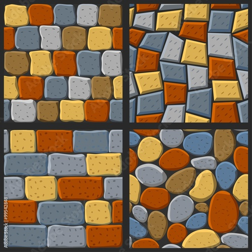 Vector Cartoon Seamless Texture Collection Of Bricks And Tile