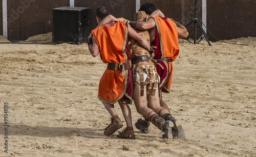 gladiator fights in the arena of the Roman circus, representatio