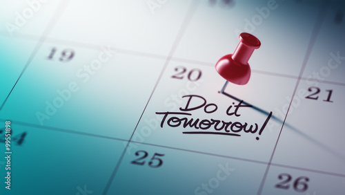 Fotografering  Concept image of a Calendar with a red push pin. Closeup shot of