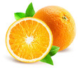 orange with half of orange isolated on the white background