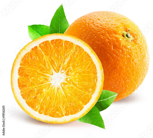 Obraz orange with half of orange isolated on the white background - fototapety do salonu