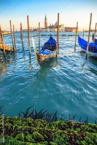 Foto op Plexiglas Venetie Gondolas moored by Saint Mark square with San Giorgio di Maggiore church in the background - Venice, Venezia, Italy, Europe