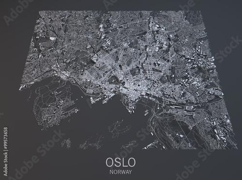 Oslo, vista satellitare, cartina, città, Norvegia Poster