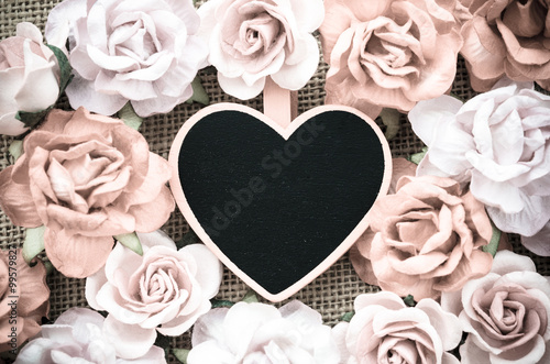 Photo  All you need is love wooden tag with roses