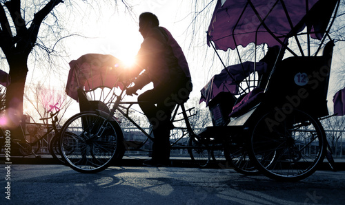 Fotografie, Obraz  Man Riding Rickshaw Occupation Ancient Culture Concept