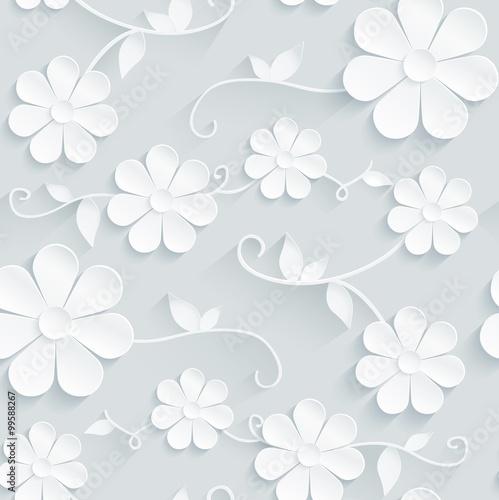 Obraz kwiaty   kwiaty-wzor-stokrotki-na-szarym-tle