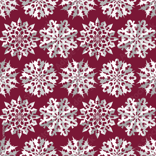 Papiers peints Visage de femme Origami snowflake seamless pattern. Christmas, New Year texture. Paper cut out white signs on dark red, vinous. Vector