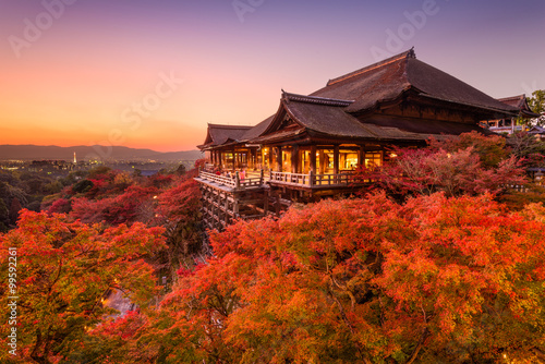 Aluminium Prints Autumn Kiyomizu-dera Temple in Japan