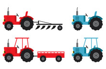 Tractor Set Red And Blue