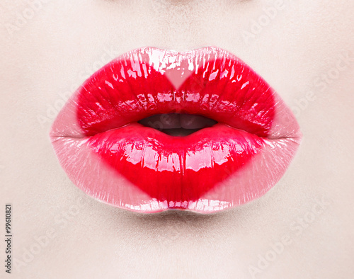 Beauty sexy lips with heart shape paint. Valentines Day Poster