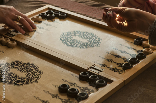 Canvastavla vintage wooden backgammon