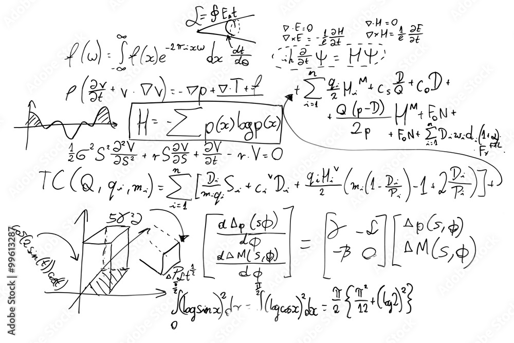 Fototapety, obrazy: Complex math formulas on whiteboard. Mathematics and science with economics