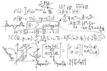 Complex Math Formulas On White...