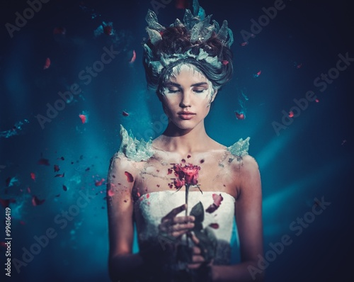 Fototapety Fantasy winter-beauty-fantasy-woman-portrait-beautiful-young-model-girl-and-blast-of-frozen-rose