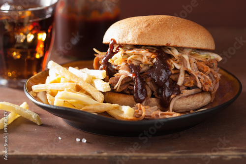 homemade pulled pork burger with coleslaw and bbq sauce Canvas Print