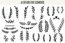 Set Of Hand Drawn Vector Decor...