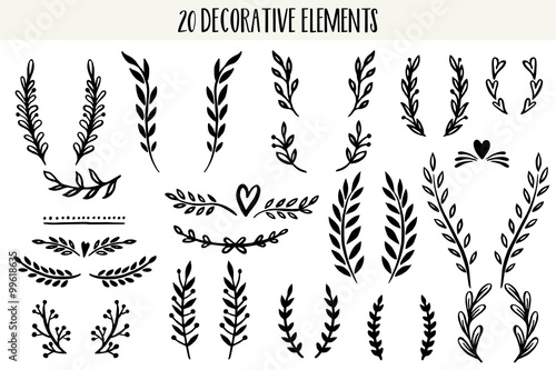 Photo  Set of hand drawn vector decorative elements.