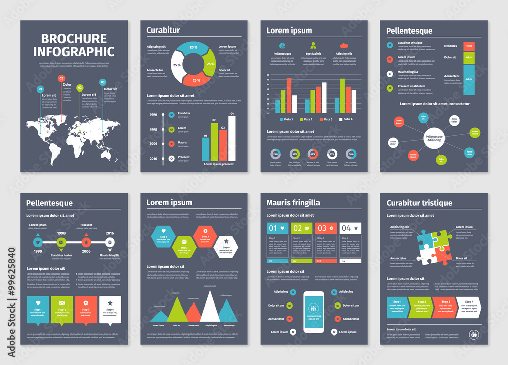 Photo  Modern dark business infographic brochure template.