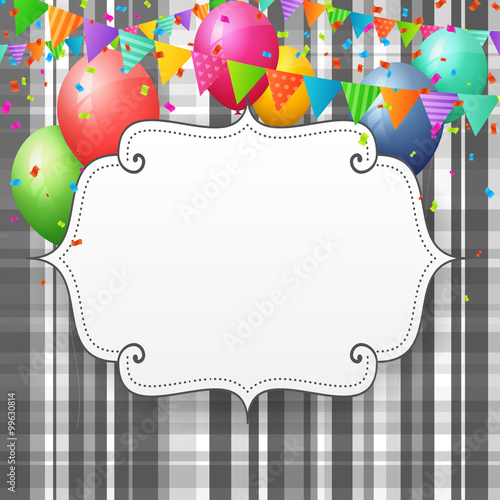 Empty Birthday Greeting Card With Balloons And Flags Buy This