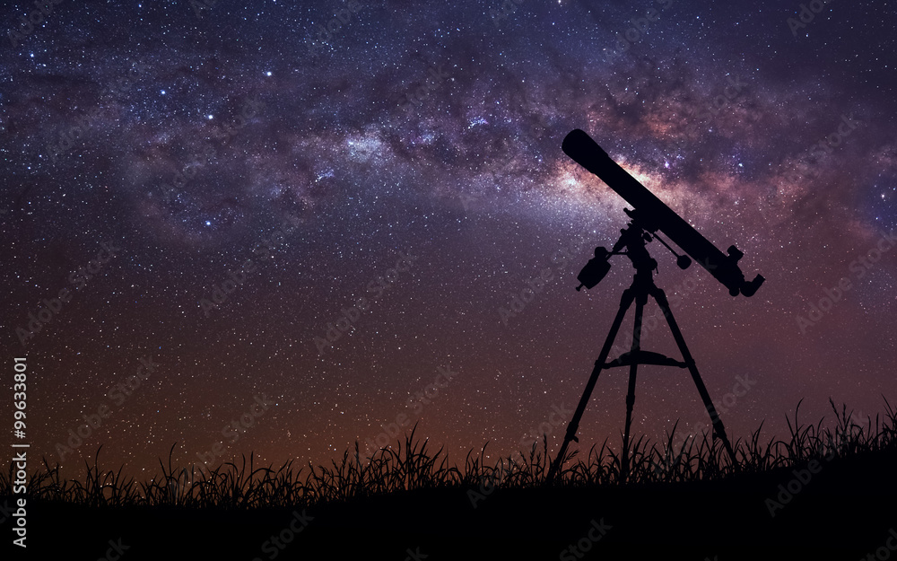 Fototapety, obrazy: Infinite space background with silhouette of telescope. This image elements furnished by NASA.