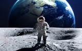 Fototapeta Space - Brave astronaut at the spacewalk on the moon. This image elements furnished by NASA.
