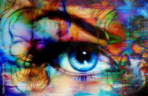 Türaufkleber Makrofotografie women eye and skull, computer collage, Eye contact.