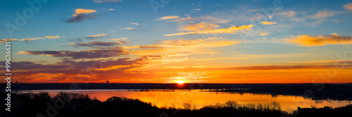 Poster Texas Texas Lake Sunrise Panorama