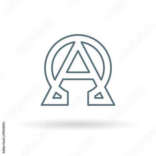 Abstract Alpha And Omega Icon Beginning And End Sign Greek Alpha