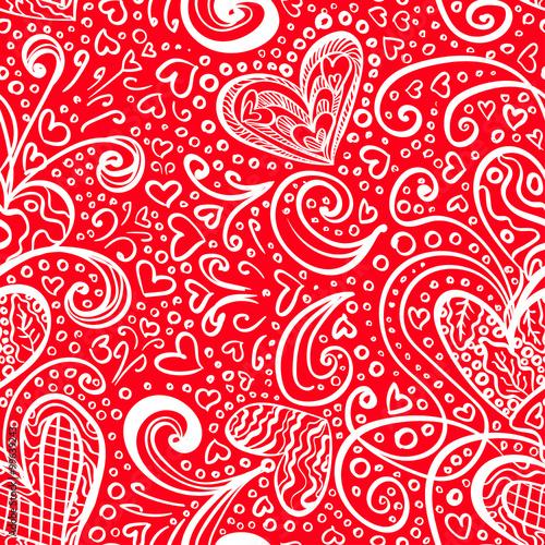 Materiał do szycia Bezszwowe czerwony Saint Valentine's Day wzór tło z Artystyczny serca i Doodles