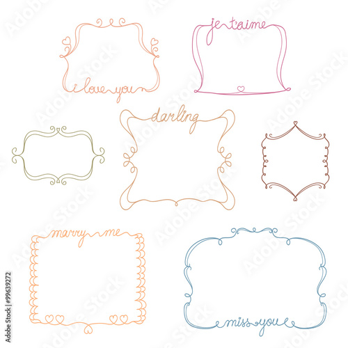 set of doodle love,miss,marry me frames. simple and cute hand drawn ...