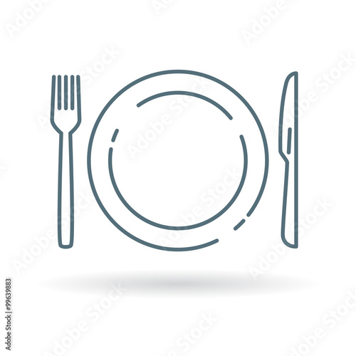 Fotografie, Obraz  Plate, knife and fork icon