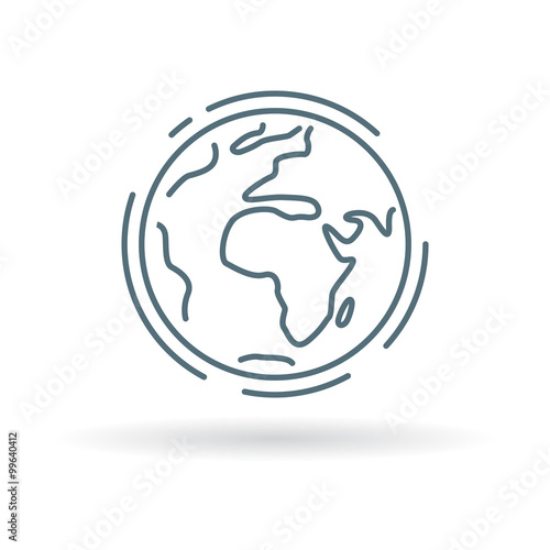 Obraz Planet earth icon. Planet earth sign. Planet earth symbol. Thin line icon on white background. Vector illustration. - fototapety do salonu