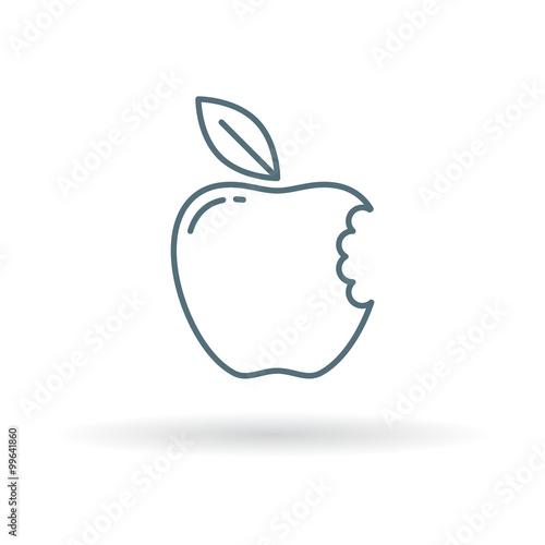 Eat Apple Icon Apple Bite Sign Fresh Fruit Symbol Thin Line Icon
