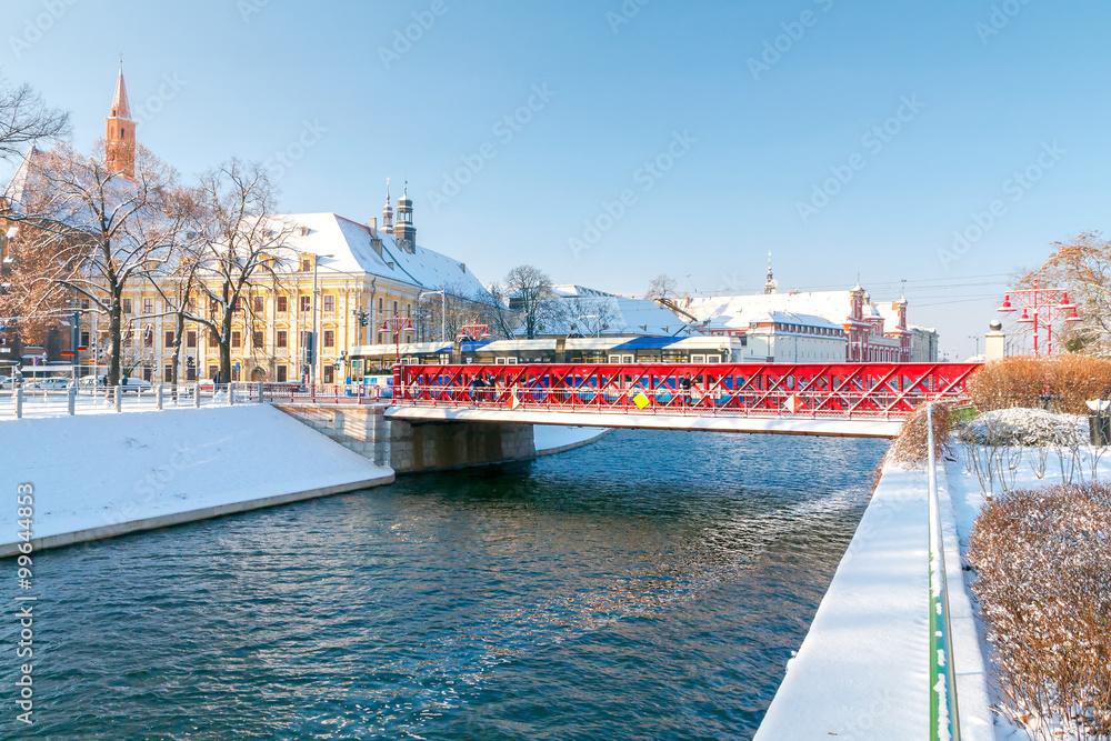 Fototapety, obrazy: Wrocław, Most Piaskowy zimą