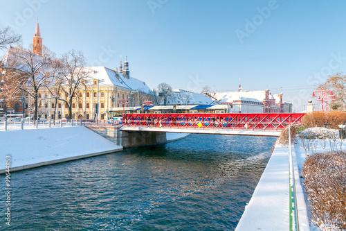 Obraz Wrocław, Most Piaskowy zimą - fototapety do salonu
