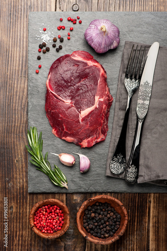 Raw ribeye steak, top view Tablou Canvas