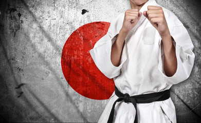 Panel Szklany Sztuki walki karate fighter and japan flag