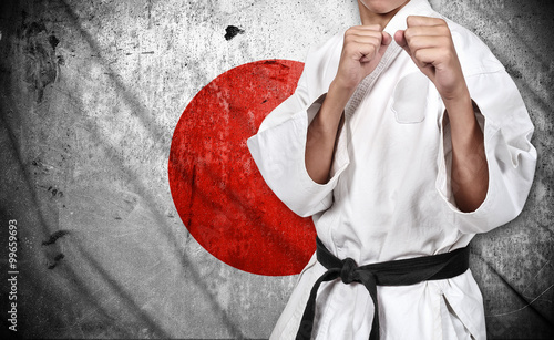 Poster Vechtsport karate fighter and japan flag