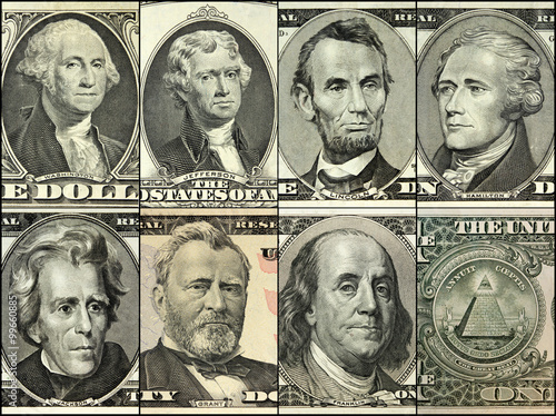 UNITED STATES OF AMERICA - engraving portrait on Dollars Banknote from USA