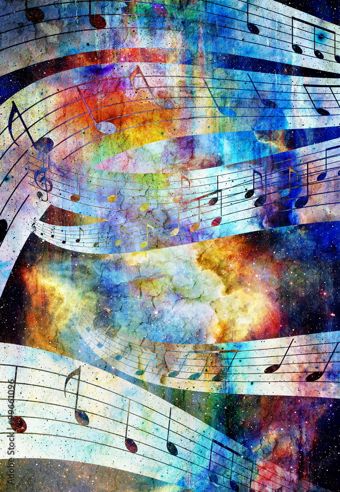 Fototapeta music note and abstrtact color background. spots background.