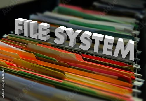 Fotografie, Obraz  File System 3d Words Folders Organized Historical Archive Docume