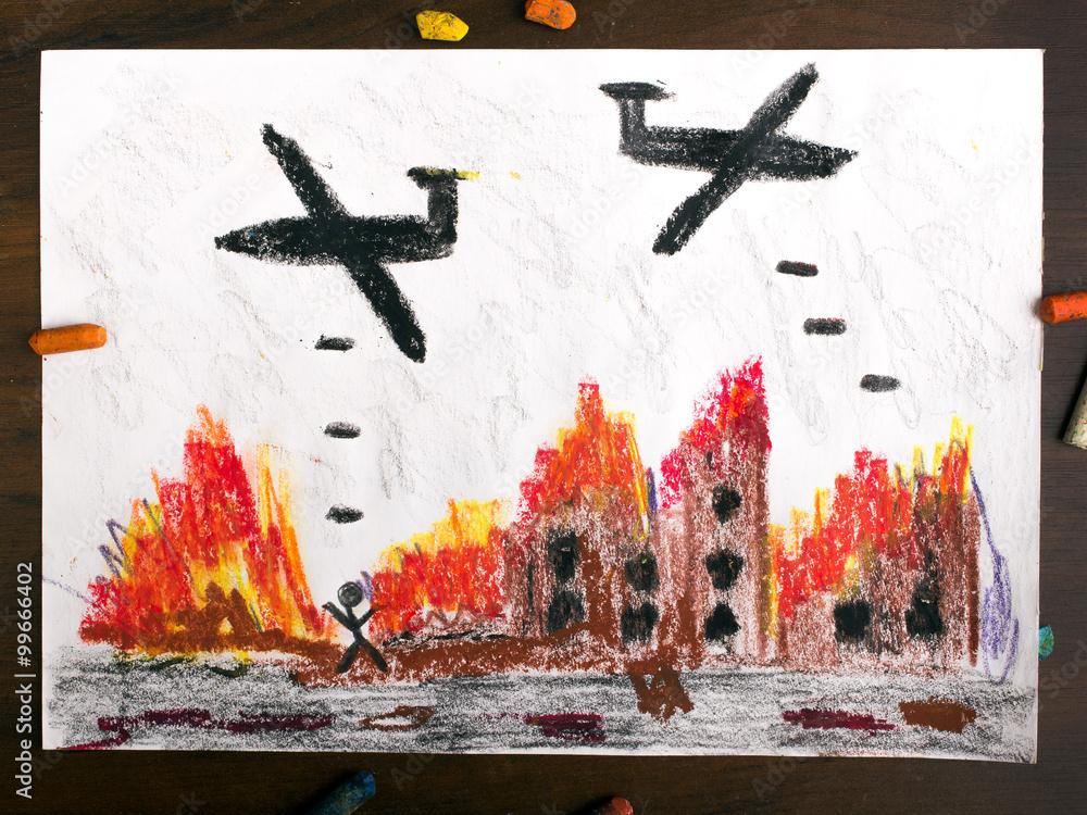 Fototapeta rysunek dziecięcy przedstawiający nalot bombowy