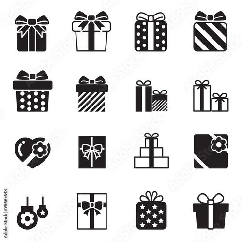 Fototapety, obrazy: Gift box icons set on white background