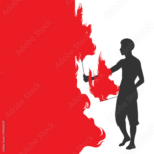 silhouette of a man with two torches, performing FIRE show Canvas Print