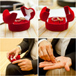 wedding rings in a box and in the hands of the groom; collage