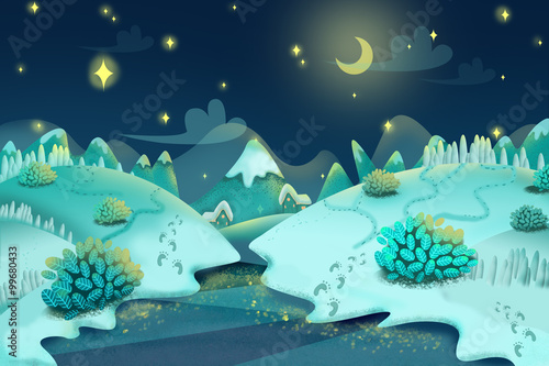 Illustration: Snow Night. Realistic Fantastic Cartoon Style Artwork Scene, Wallpaper, Game Story Background, Card Design