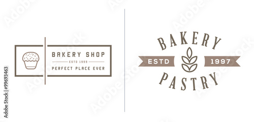 Fotografia Set of Vector Bakery Pastry Elements and Bread Icons Illustration can be used as